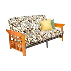 Night and Day Portland Full Wood and Metal Futon in Honey Oak