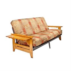 Night and Day Coral Full Wood and Metal Futon in Honey Oak