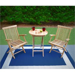 Tortuga Outdoor Jakarta Teak 3 Piece Folding Bistro Set in Natural