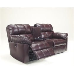 Ashley Kennard Double Power Reclining Leather Loveseat in Burgundy