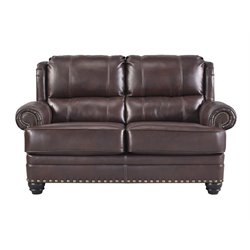 Ashley Glengary Leather Loveseat in Chestnut