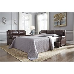 Ashley Glengary Queen Leather Sleeper Sofa in Chestnut