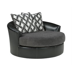 Ashley Kumasi Oversized Swivel Accent Faux Leather Chair in Smoke