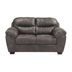 Ashley Havilyn Faux Leather Loveseat in Charcoal