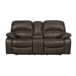 Ashley Zavier Glider Reclining Loveseat with Console in Truffle