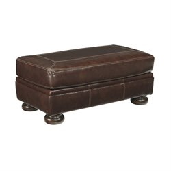 Ashley Banner Leather Ottoman in Coffee