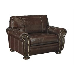 Ashley Banner Leather Accent Chair in Coffee