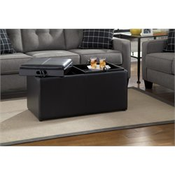 Ashley Brindon Faux Leather Storage Ottoman in Charcoal