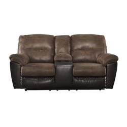 Ashley Follett Double Reclining Faux Leather Loveseat in Coffee