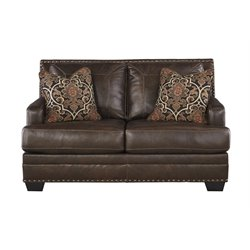 Ashley Corvan Leather Loveseat in Antique