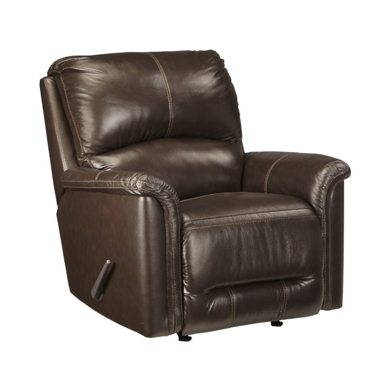 Ashley Lacotter Leather Rocker Recliner In Chocolate 8660025