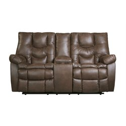 Ashley Burgett Glider Reclining Loveseat with Console in Espresso