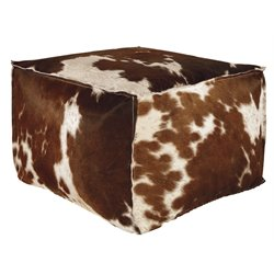 Ashley Tegan Leather Cube Pouf in Dark Brown