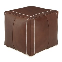 Ashley Vintage Cube Pouf in Brown