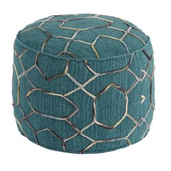 Ashley Overdyed Cylinder Pouf in Dark Green
