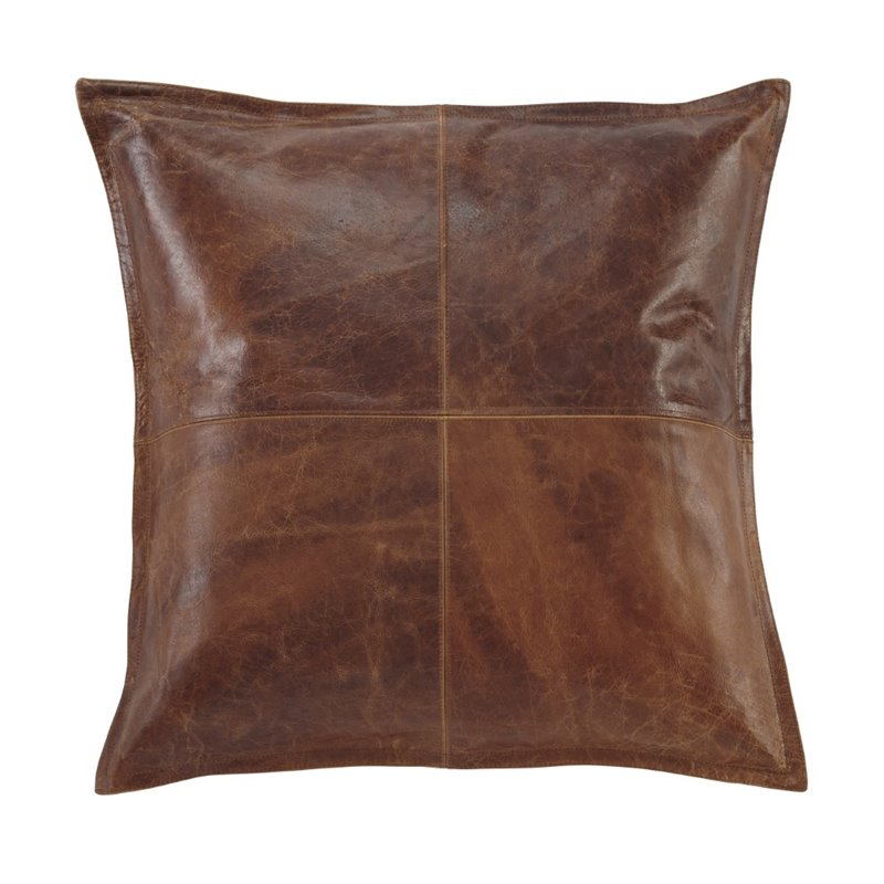 Throw Pillows For Leather Sofas : Ashley Brennen Leather Throw Pillow Cover in Brown - A1000637P