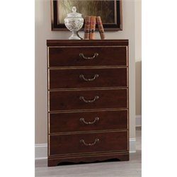 Ashley Chanlyn 5 Drawer Chest in Reddish Brown