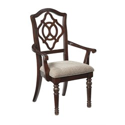 Ashley Leahlyn Upholstered Dining Arm Chair in Red Brown
