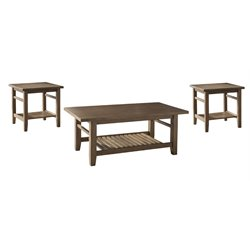 Ashley Zantori 3 Piece Coffee Table Set in Light Brown