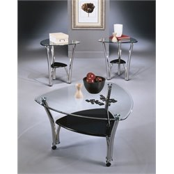 Ashley Pascal 3 Piece Coffee Table Set in Chrome