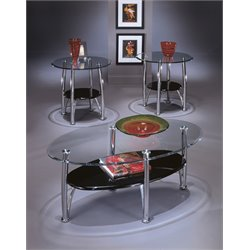 Ashley Dempsey 3 Piece Coffee Table Set in Chrome