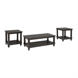 Ashley Mallacar 3 Piece Coffee Table Set in Black