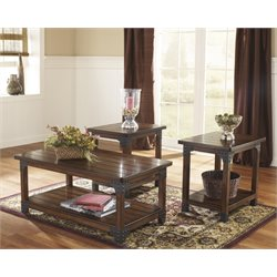 Ashley Murphy 3 Piece Coffee Table Set in Medium Brown