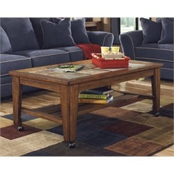 Ashley Toscana Coffee Table in Rustic Brown