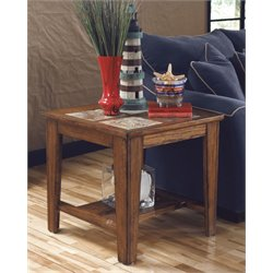 Ashley Toscana Square End Table in Rustic Brown