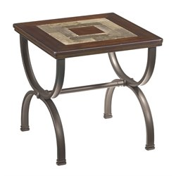 Ashley Zander Square End Table in Medium Brown