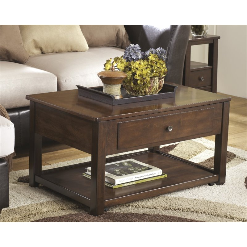 Ashley Marion Lift Top Coffee Table In Dark Brown T477 9
