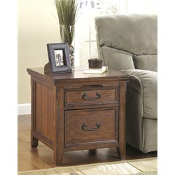 Ashley Woodboro Media End Table in Dark Brown