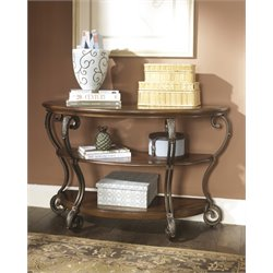 Ashley Nestor Console Table in Medium Brown