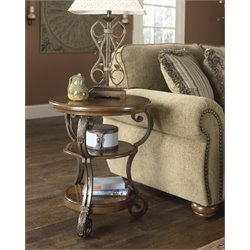 Ashley Nestor End Table in Medium Brown