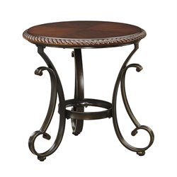 Ashley Gambrey Round End Table in Reddish Brown