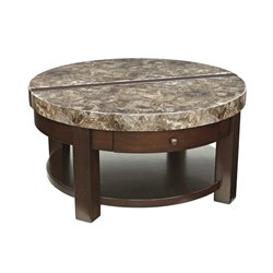 Ashley Kraleene Round Lift Top Coffee Table in Dark Brown