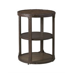 Ashley Shofern Round End Table in Rustic Brown