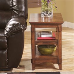 Ashley Cross Island End Table in Medium Brown