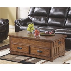 Ashley Cross Island Lift Top Coffee Table in Medium Brown