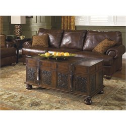 Ashley McKenna Coffee Table with Storage in Dark Brown