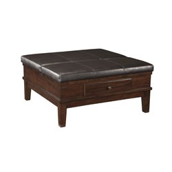 Ashley Gately Square Coffee Table Ottoman in Medium Brown