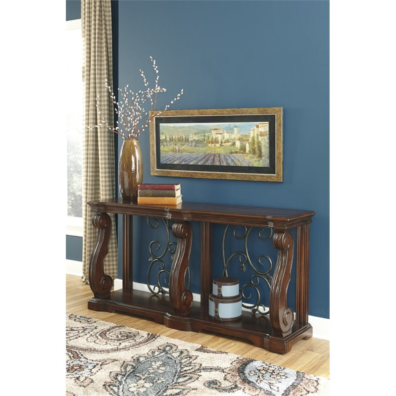 Ashley Alymere Console Table In Rustic Brown T869 4