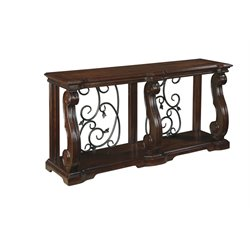 Ashley Alymere Console Table in Rustic Brown