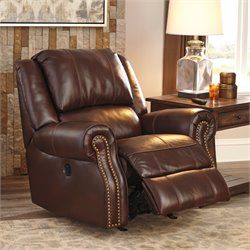 Ashley Furniture Collinsville Rocker Recliner in Chestnut