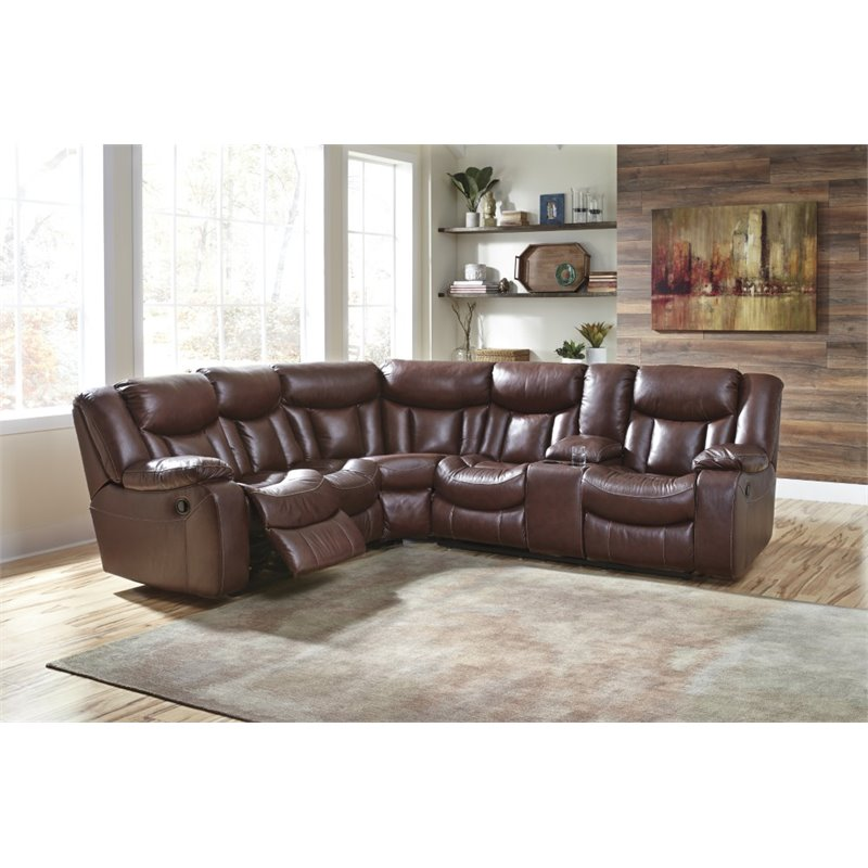 Ashley Amaroo Reclining Sectional in Brown 48 49 KIT