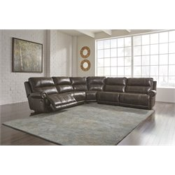 Ashley Dak DuraBlend 5 Piece Reclining Sectional in Antique
