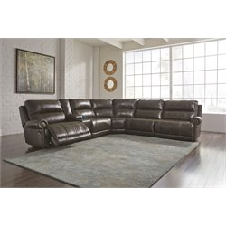 Ashley Dak DuraBlend 6 Piece Reclining Sectional in Antique