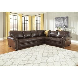 Ashley Banner 3 Piece Sectional in Coffee