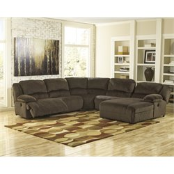 Ashley Toletta 5 Piece Reclining Left Facing Sectional in Chocolate