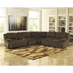 Ashley Toletta 6 Piece Reclining Left Facing Sectional in Chocolate